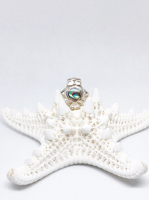 Abalone shell Owl ring size 9