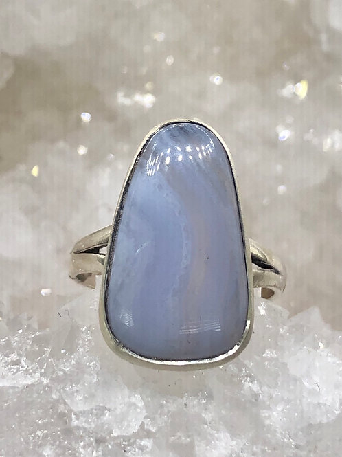 Sterling Silver Blue Lace Agate Ring Size 7.5