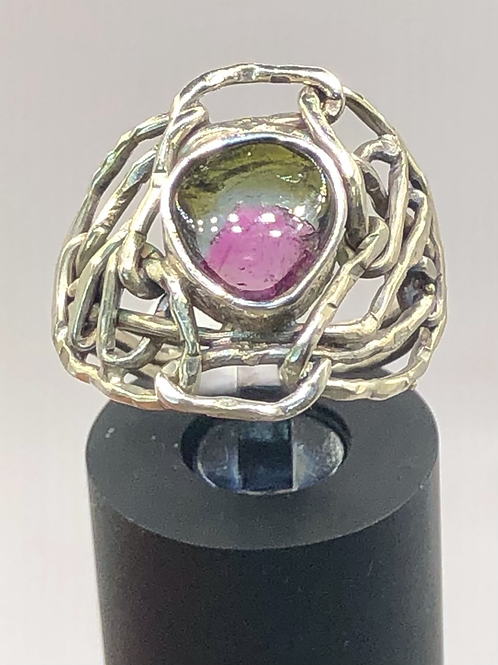 Sterling Silver Watermelon Tourmaline Ring Size 7