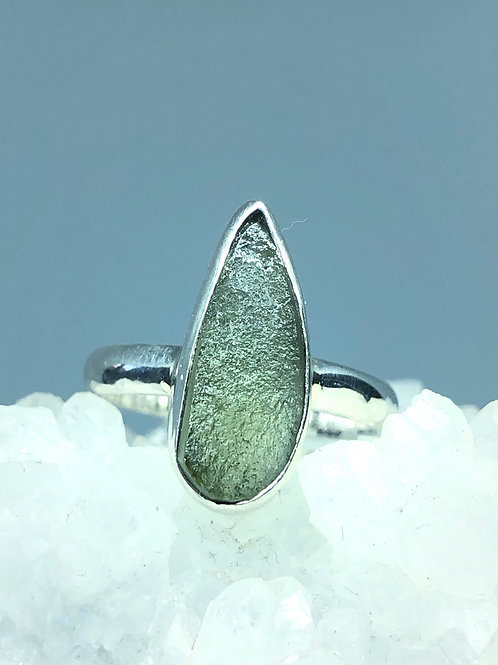 Sterling Silver Genuine Czech Moldavite Ring Size 7