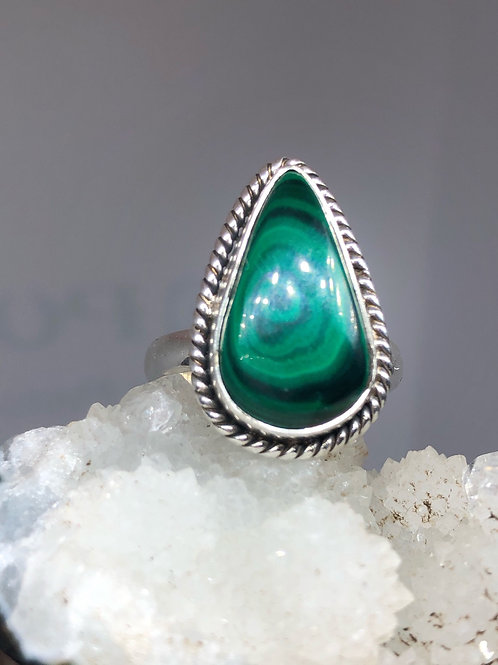 Sterling Silver Malachite Ring Size 10