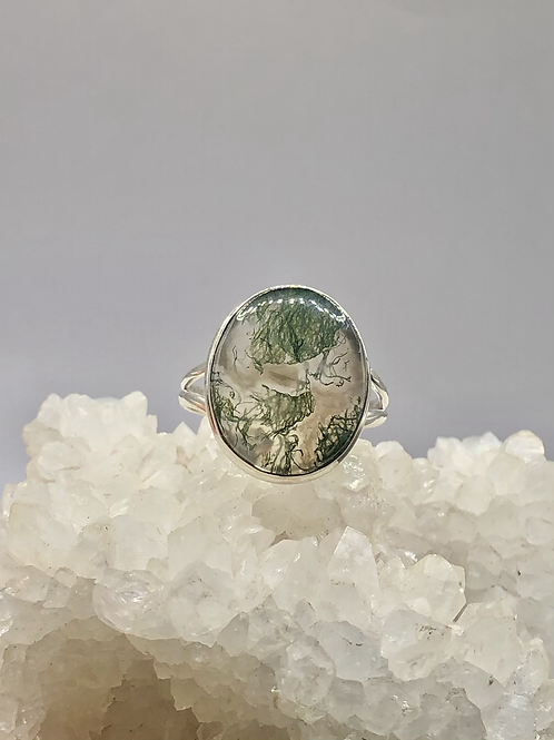 Sterling Silver Moss Agate Ring Size 10.5