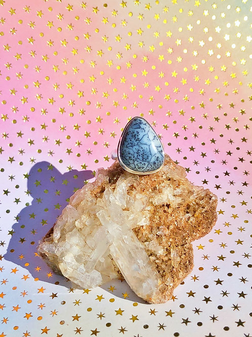 Dendritic opal ring size 8.5