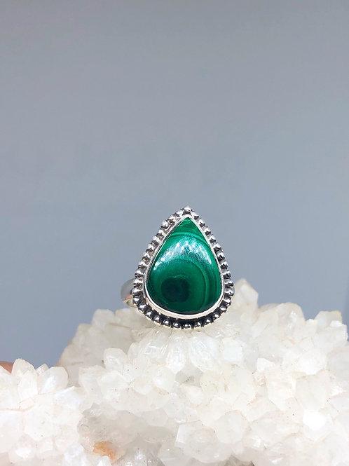 Sterling Silver Malachite Ring Size 8