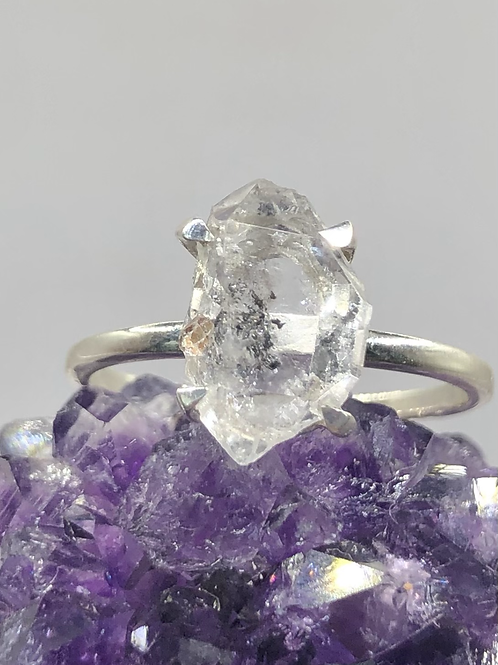 Sterling Silver Herkimer Diamond Ring Size 7.5