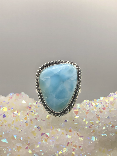 Sterling Silver Larimar Ring Size 8.5