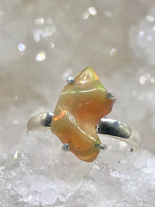 Sterling Silver Ethiopian Opal Ring Size 7