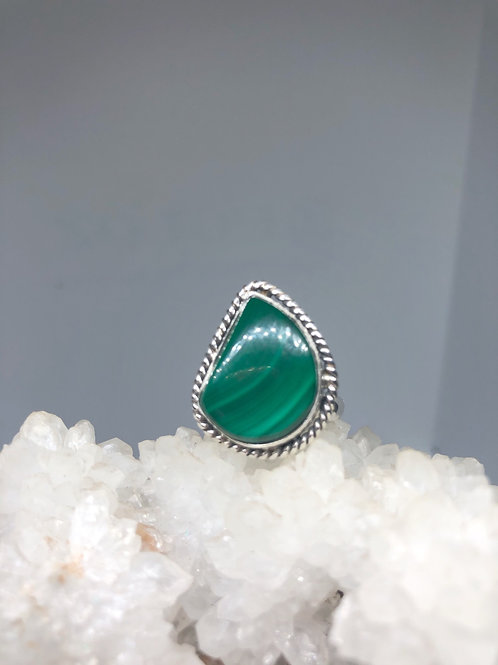 Sterling Silver Malachite Ring Size 9