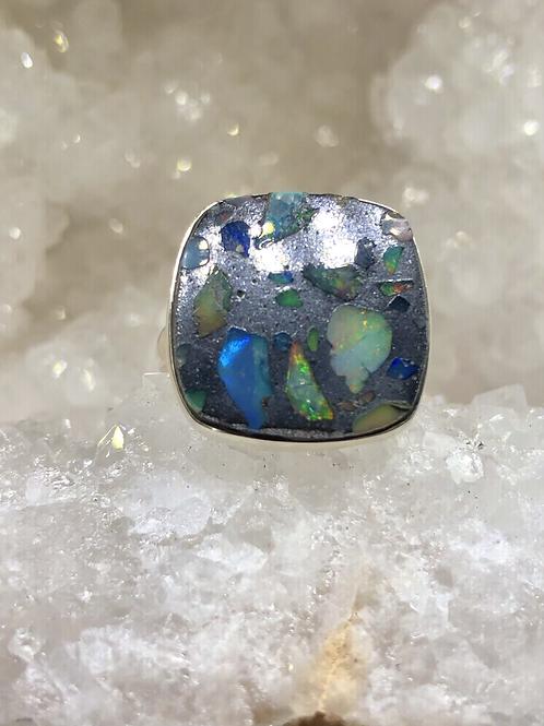 Sterling Silver Ethiopian Opal In Quartz Ring Size 8.5