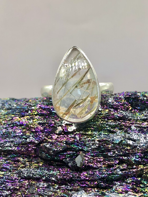 Sterling Silver Golden Rutile Ring Size 11