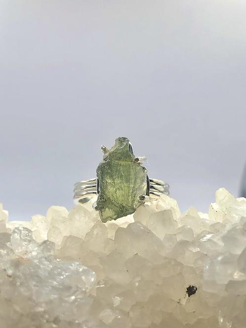 Sterling Silver Czech Moldavite Ring Size 6.5
