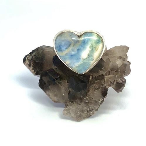 Sterling Silver Blue Scheelite Ring Size 9