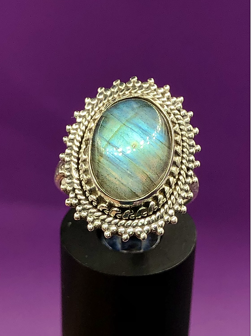 Sterling Silver Labradorite Ring Size 7.5