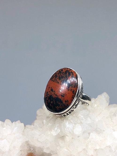 Mahagony Obsidian Ring Size 7