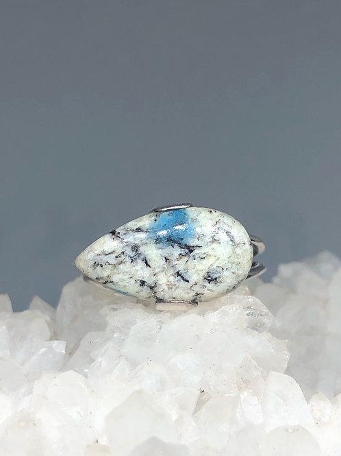 K2 Blue Azurite in Quartz Ring Size 7