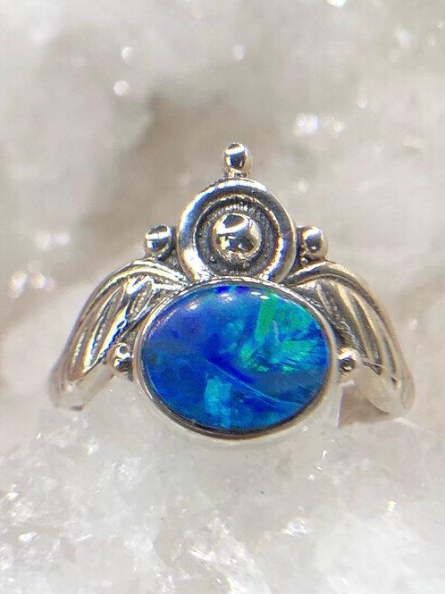 Sterling  Silver Australian Doublet Opal Ring Size 8