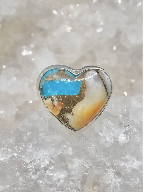 Sterling Silver Spiny Oyster Arizona Turquoise Ring Size 7