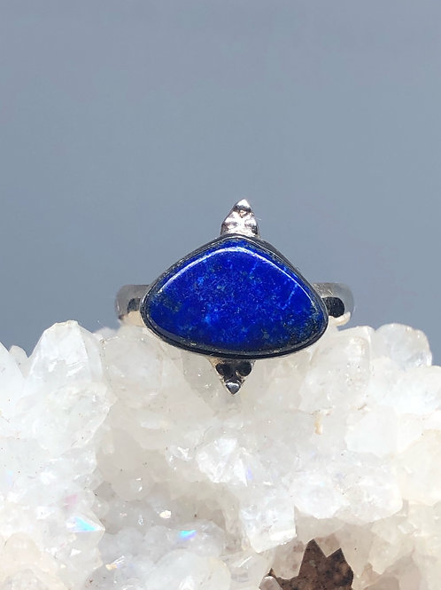 Sterling Silver Afghan Lapis Lazuli Ring Size 8.5