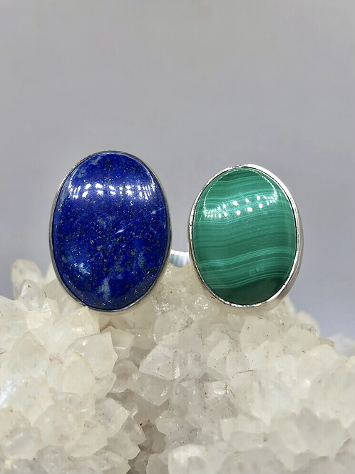 Sterling Silver Lapis and Malachite Ring Adj