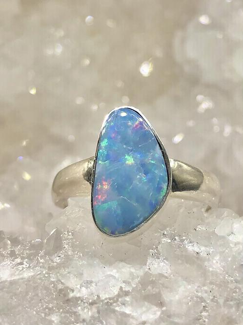 Sterling Silver Australian Opal Ring Size 9