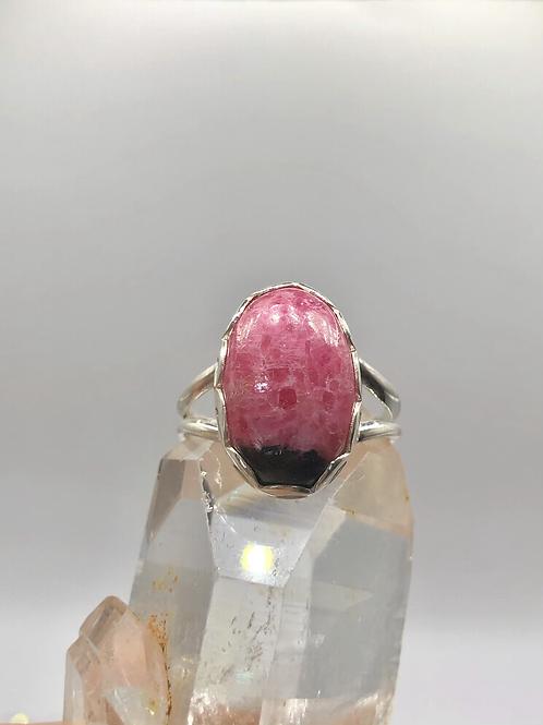 Sterling Silver Rhodonite Ring Size 8