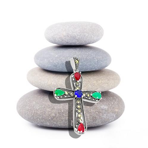 Sterling Silver Multistone Cross Pendant