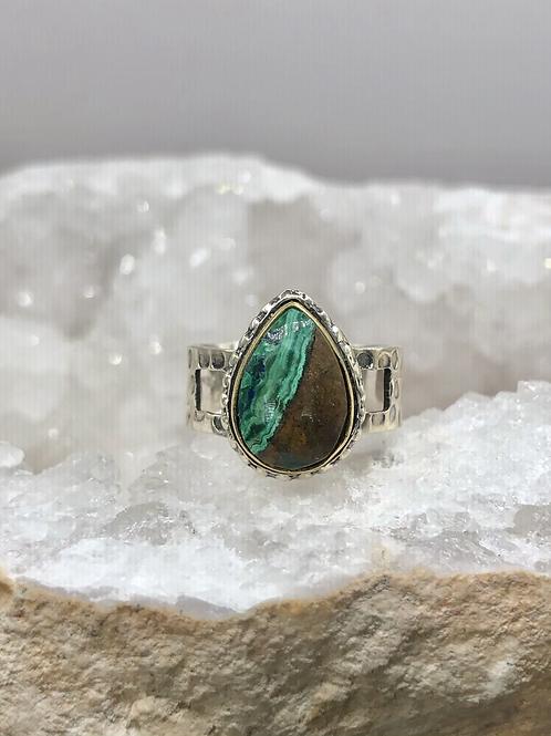 Sterling Silver Malachite Ring Size 7.5