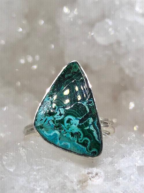Azurite in malachite ring size 7