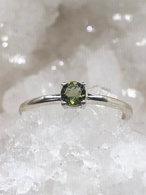 Sterling Silver Moldavite Ring Size 7