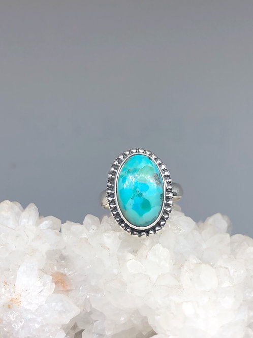 Sterling Silver Kingman Turquoise Ring Size 7.5