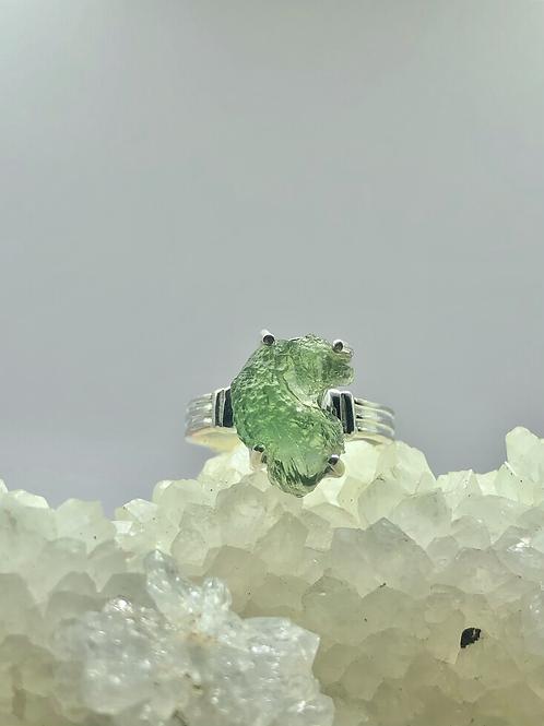 Sterling Silver Czech Moldavite Ring Size 8