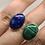 Thumbnail: Sterling Silver Malachite and Lapis Ring Adj