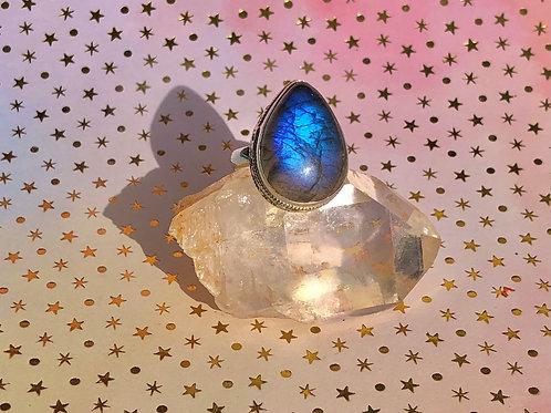 Fire Labradorite ring size 7