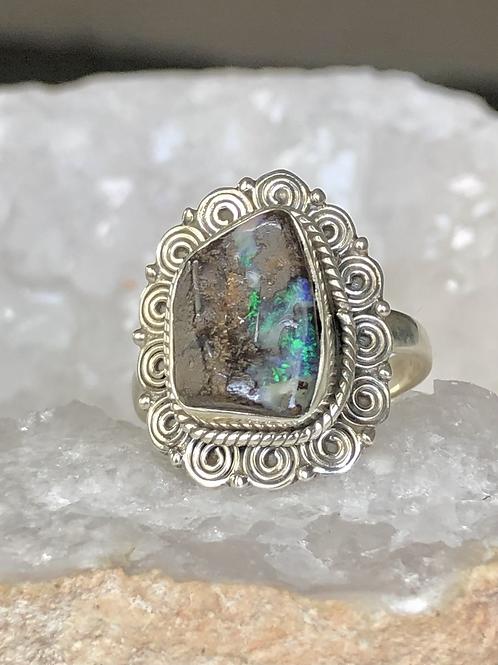 Sterling Silver Boulder Opal Ring Size 9
