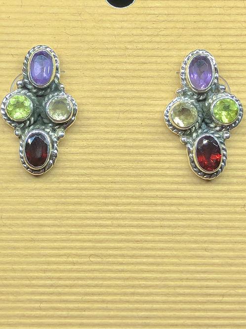 Sterling  Silver Multistone Earrings