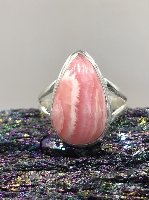 Sterling Silver Rhodochrosite Ring Size 11