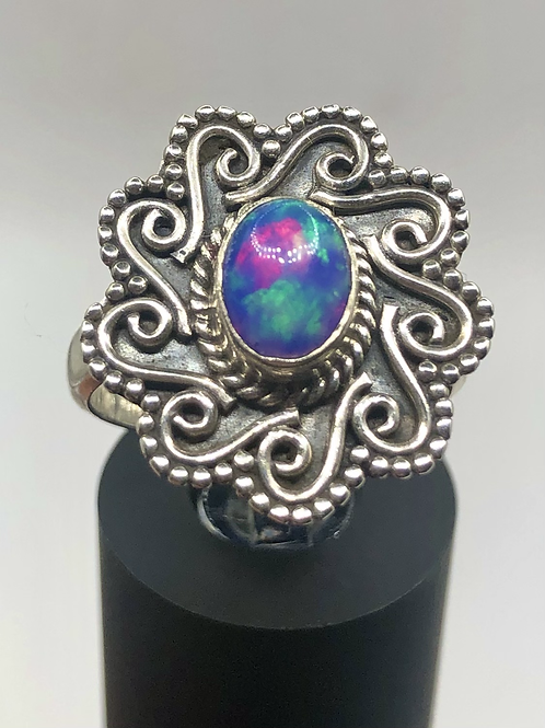Sterling Silver Blue Ethiopian Opal Ring Size 7.5
