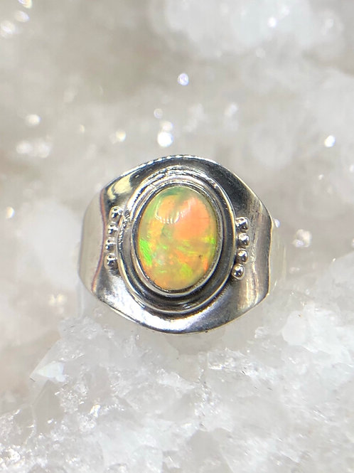 Sterling  Silver Ethiopian Opal Ring Size 6