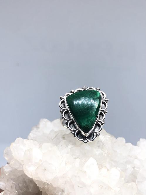 Sterling Silver Malachite Ring Size 6