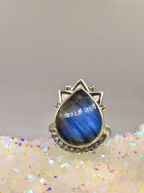 Sterling Silver Labradorite Ring Size 10