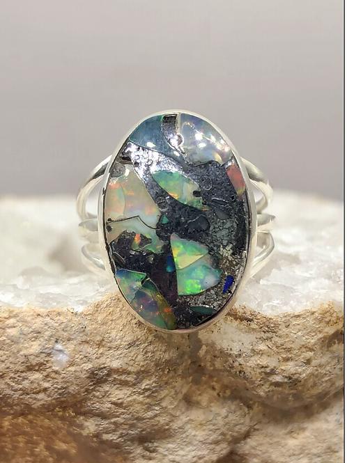 Sterling Silver Ethiopian Opal In Quartz Ring Size 9