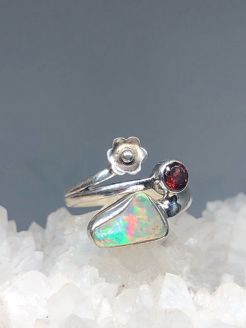 Sterling Silver Ethiopian Opal Rough and Garnet Ring Size 7