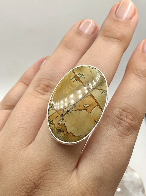 Sterling Silver Picture Jasper Ring Size 9