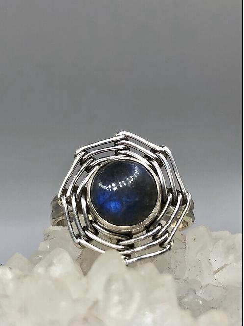 Sterling Silver Labradorite Ring Size 9