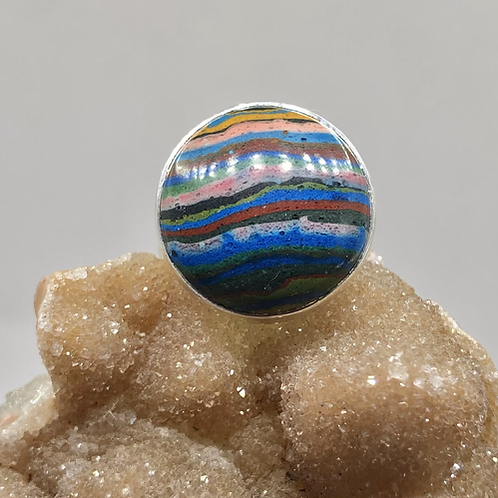 Sterling Silver Rainbow Calsilica Ring Size 5.5