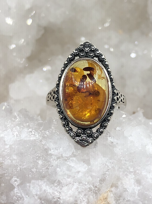 Sterling Silver Adjustable  Amber Ring