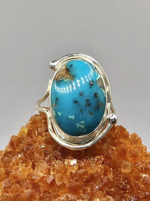 Sterling Silver Persian Turquoise Ring Size 9.5