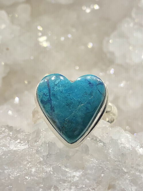 Sterling Silver Chrysocolla Heart Ring Size 11