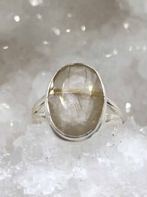 Sterling Silver Godlen Rutile Faceted Ring Size 5.5