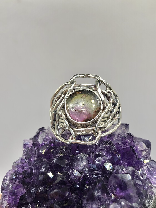 Sterling Silver Watermelon Tourmaline Ring Size 8